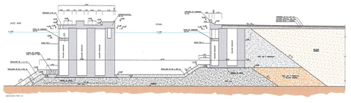 Cross-section of breakwater with buffer channel