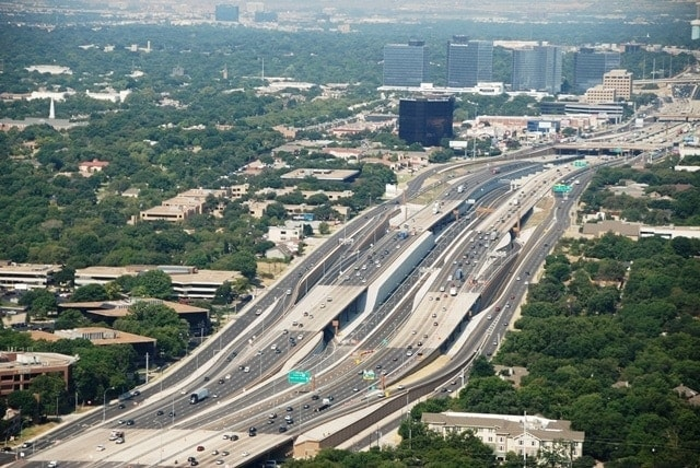 LBJ Express highway in Dallas, Texas