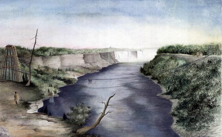 Puente Cataratas del Niágara acuarela Donna Marie Campbell