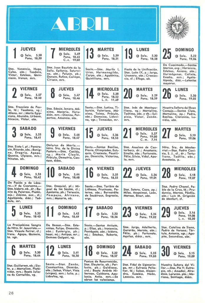 almanaque agroman ferrovial calendario abril 1975