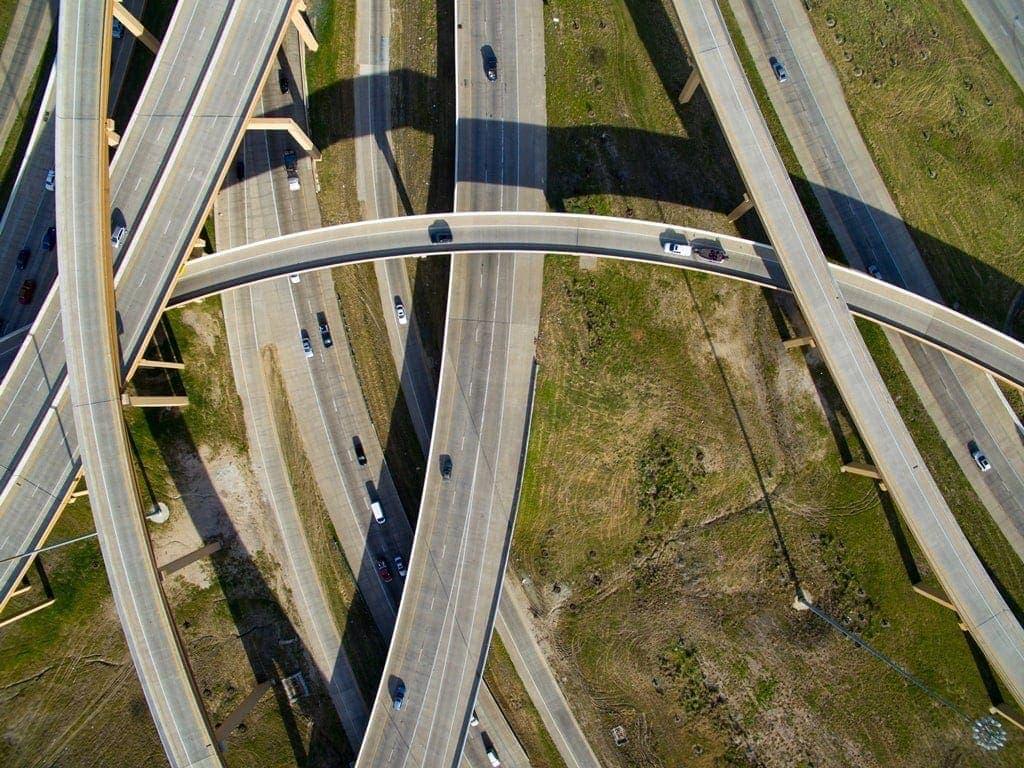 vista aérea autopista north tarrant express en Texas por Ferrovial