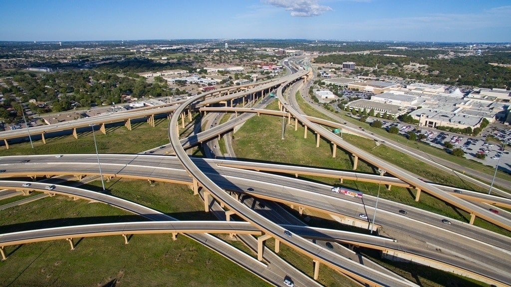 vista aérea de la autopista north tarrant express en Texas por Ferrovial