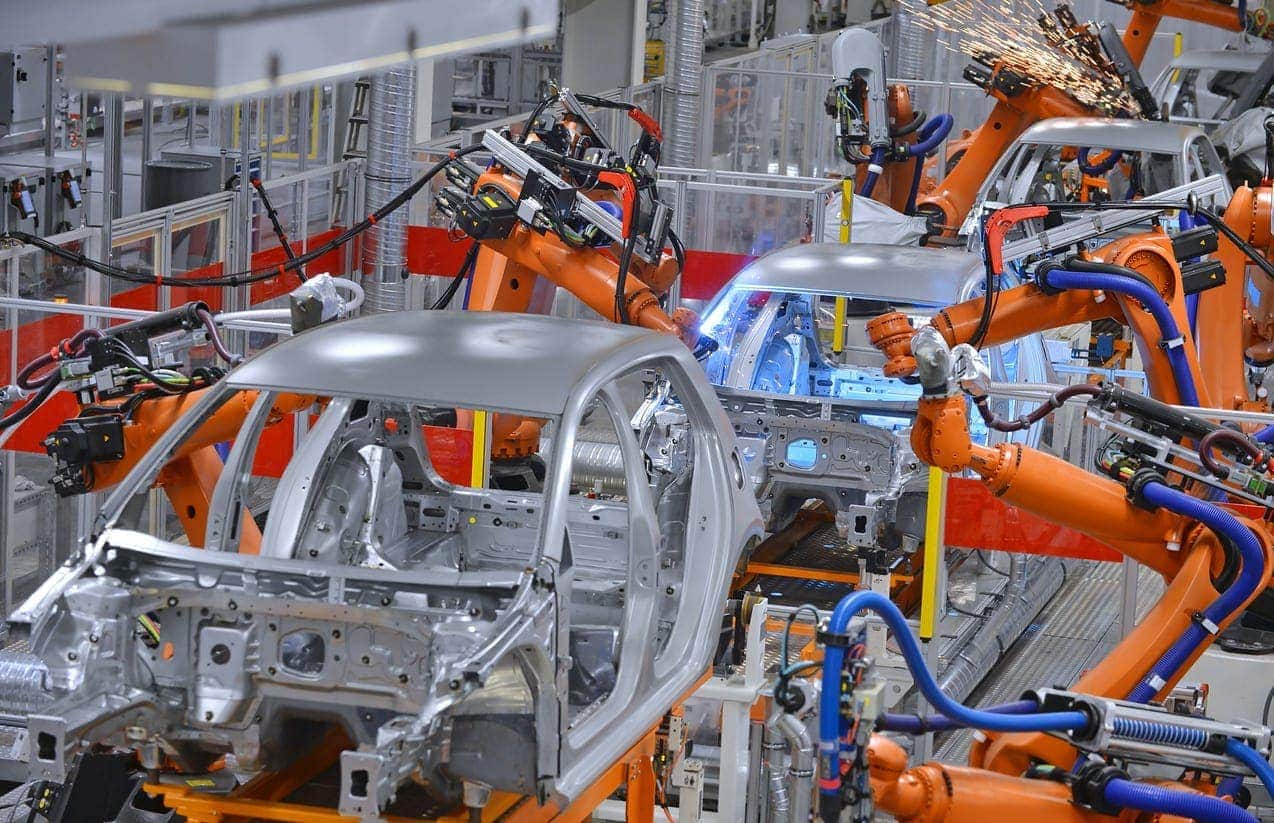 electric vehicles production welding in factory