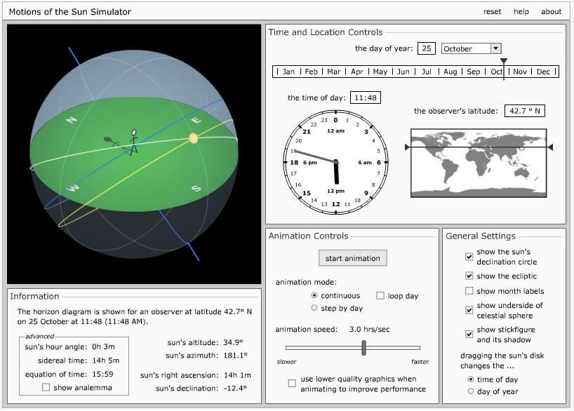motions of the sun sumulator