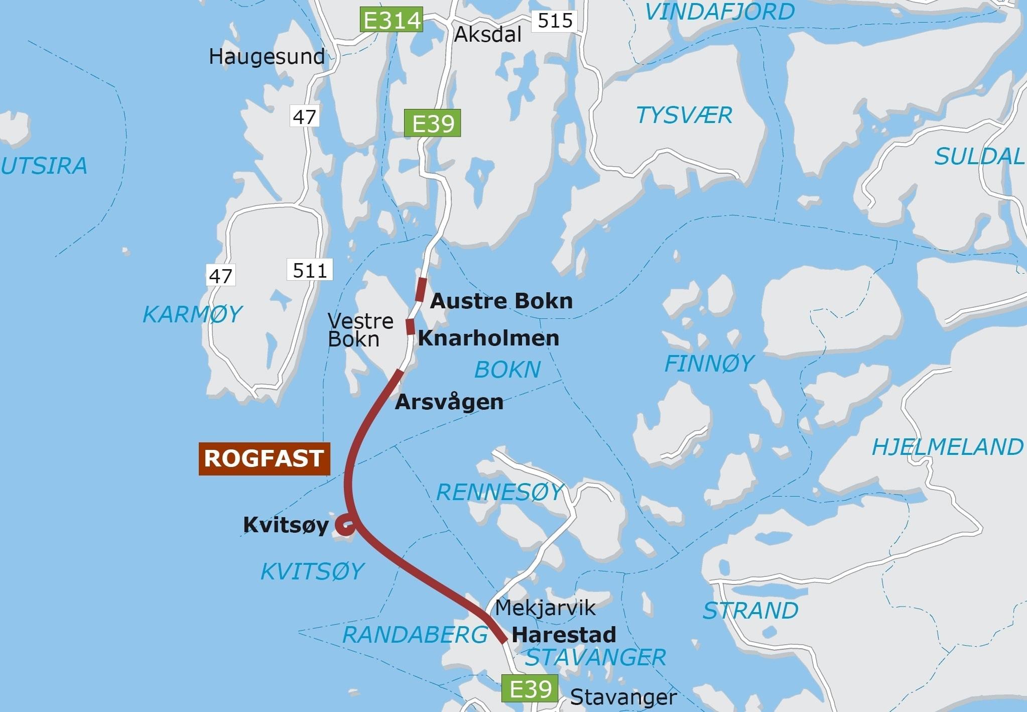 Mapa del túnel flotante de Noruega