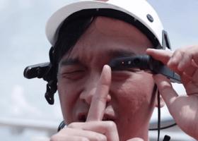 Worker using smart glasses