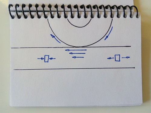Image of a sketch that represents the effect of cracks in roads