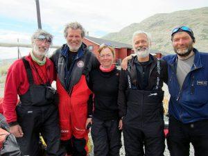 Equipo de proyecto del trineo de hielo en la Antártica
