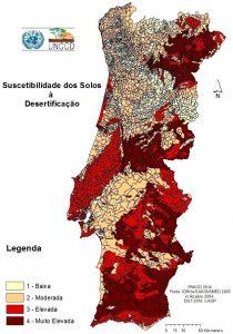 Mapa de Portugal con los niveles de desertificación de los suelos