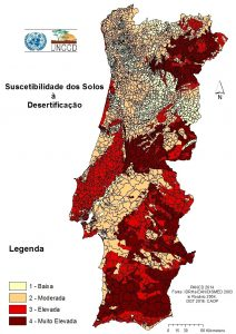 Map of Portugal with levels of desertification of soils