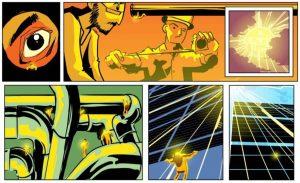 Ilustración tipo cómic de Ferrovial