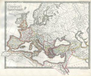 Mapa del Imperio Romano, ya dividido, alrededor del 330 d.C.