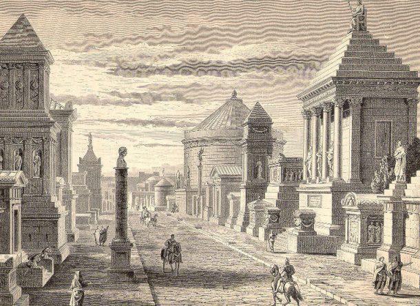 carretera de la vía Apia Roma