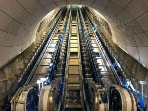 The huge escalators at Farrindgon, still being installed