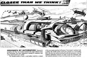 retrofuturism car ilustration
