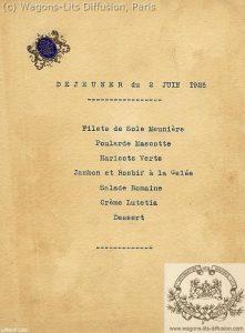 menu train 1925