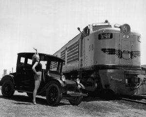 Publicity photo for the first GTEL locomotive for the Union Pacific in 1953. / Union Pacific Railroad