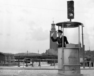 Electric traffic light in the streets of Stockholm in 1953