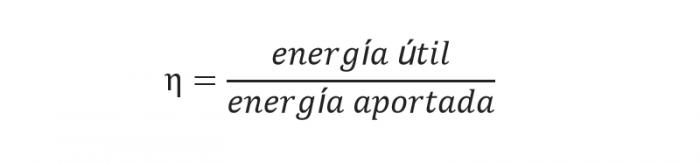 Imagen de la fórmula de rendimiento, energía útil entre energía aportada