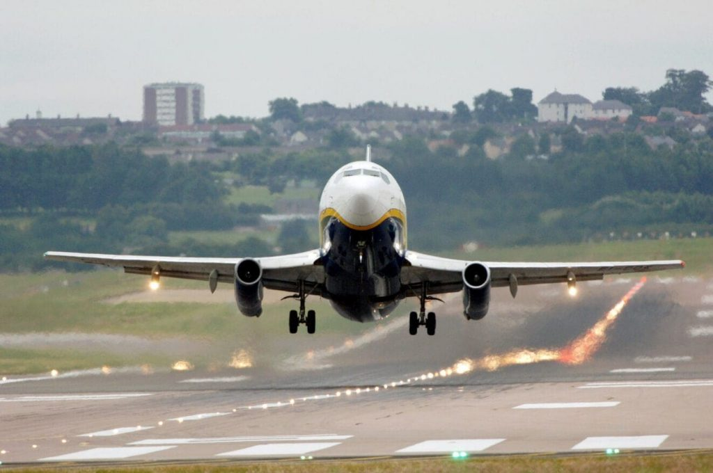 An airplane from Aberdeen as it takes off