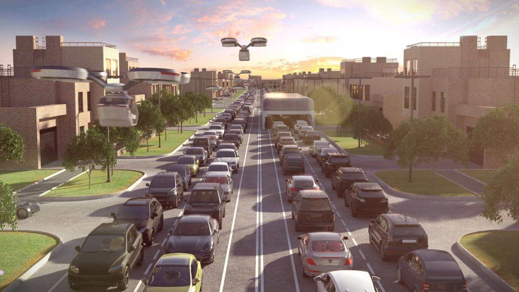 Diseño digital sobre el futuro del tráfico y el transporte, coches, drones, etc.