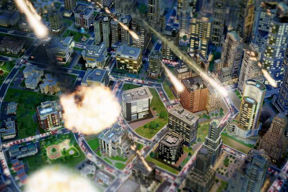 Imagen actualizada de las últimas versiones del juego, ciudad vista desde arriba como si estuvieran cayendo meteoritos