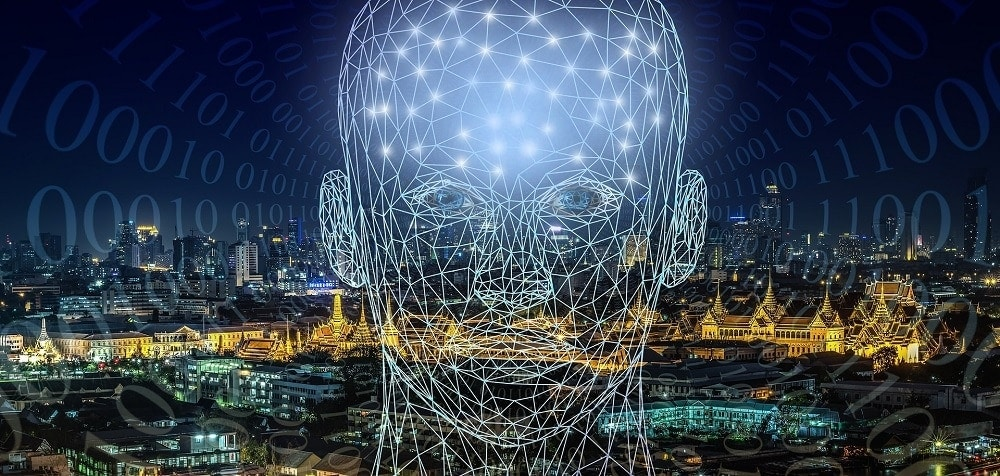 Una imagen de la cabeza de un ser humano virtual con muchos puntos trazados como unión del dato. Ciudad de fondo