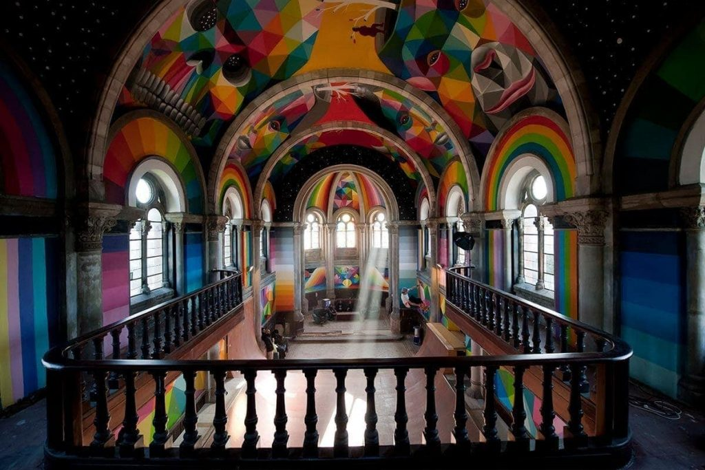 Church in Asturias transformed into park for skaters with works and reform of the artist Okuda