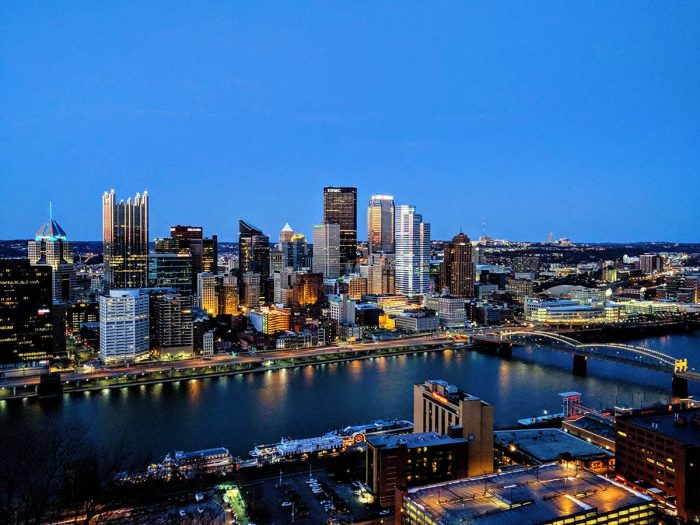 Aerial view of the city of Pittsburgh
