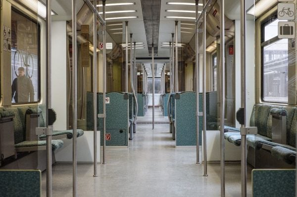 Image of the interior of an empty train car